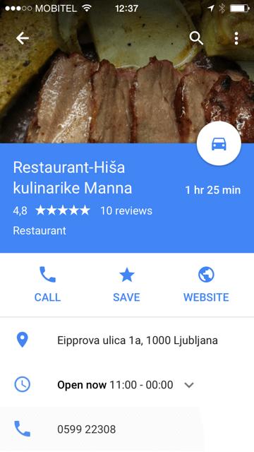 Google My Business prikaz lokacije